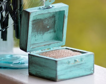 Mint engagement ring box, shabby chic wedding ring box, rustic pillow alternative, distressed, proposal
