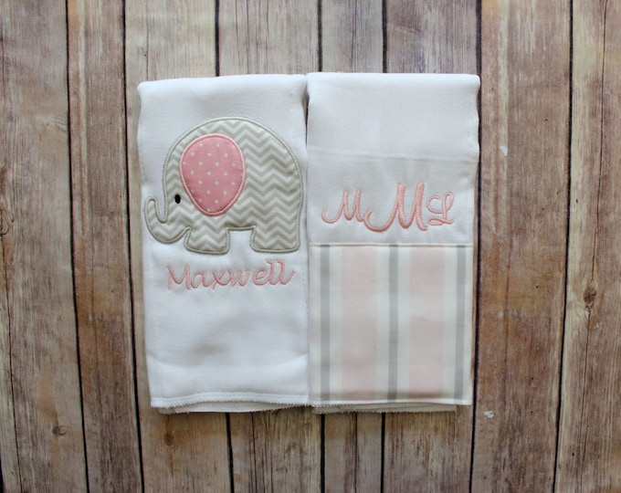 Monogram Baby Girl Elephant Burp Cloth Set - Pink and Grey Elephant Burp Cloth, Personalized Elephant Baby Gift - Baby Shower Gift, Monogram
