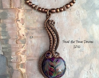 Copper Wire Weave Lamp Work Glass Bead