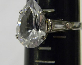 Sterling Silver 925 Allurng Prong Set Pear Shape Ring Size 6 3/4 #5903