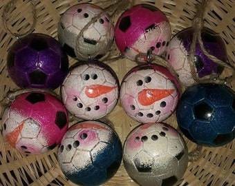 Soccer Ball Snowman Christmas Ornaments