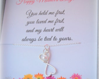 Gifts for MOM, Mothers Day Gift, Mothers Day Card, Silver necklace with card, Mother of the Bride gift
