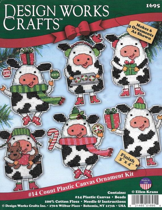 Plastic Canvas Cow Christmas Ornament Kit Design Work