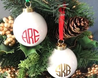 Monogrammed White Porcelain Christmas Ornament