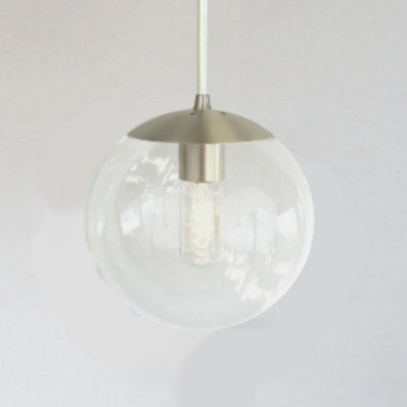 Mid century modern clear 8 globe pendant light orbiter for Mid century modern globe pendant light