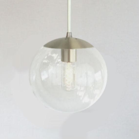 Modern Globe Pendant Lighting : Mid century modern clear globe pendant light orbiter