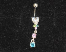New Hypoallergenic Surgical Steel Bar Sterling Silver Elements Colorful Crystal Rhinestones Belly Button Naval Ring Piercing Bar Dangle Drop