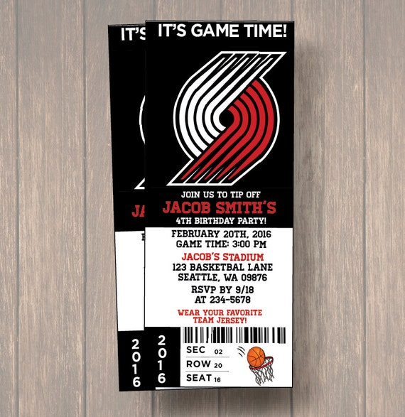 Portland Blazers Schedule: 12 PER PACK Birthday Party Invitations, Portland Trail