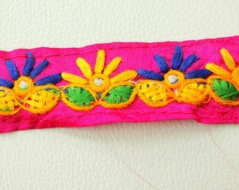 Fuchsia Pink Fabric Trim With Blue, Green And Yellow Embroidery, Approx. 30mm Wide - 140316L231