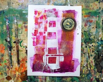 Magenta sunset,Abstract painting on heavy paper,Colorful guft for art lovers,tower skyline