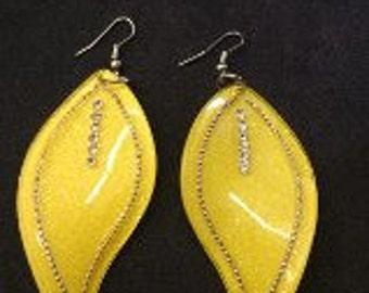Yellow Lucite Earrings, Yellow Leaf Earrings, Rhinestone and Lucite earrings, Large Lucite Dangle Earrings, Sculpted Leaf Earrings,
