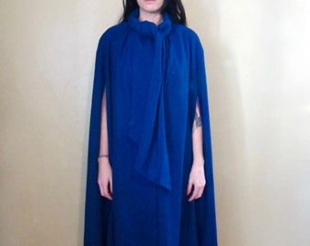 Vintage 1960's Wellington Fashions Royal Blue Merino Wool Cape Coat with Scarf Tie Neck Size Small/ Medium