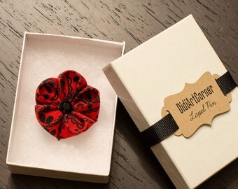 Red and Black Kanzashi Inspired Flower Lapel Pin with Black Crystal / Lapel Flower Pin / Geranium Flower Pin