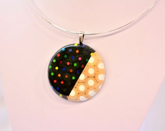 Ring pendat necklace from colored pencils
