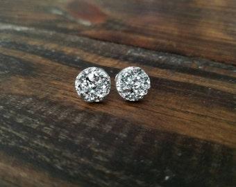 Metallic Silver Faux Druzy Studs Earrings - 12mm