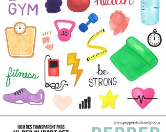 INSTANT DOWNLOAD - Health & Fitness Watercolor Illustration Clipart, Gym, Work Out, Exercise, Hi Res Hand Painted Doodles, Transparent PNGs
