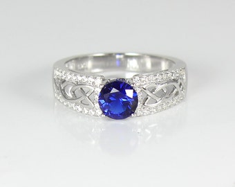 Sterling Silver Blue Sapphire Ring with Diamonds (Lab) / Blue Sapphire Ring Silver
