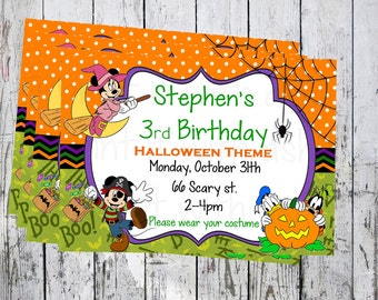 Halloween Invitation,Mickey Mouse invitation, birthday Invitation, custom birthday invitations,printable,  physical or digital file