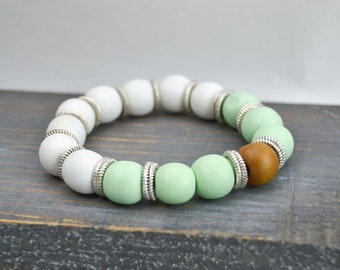 Bracelet en bois - gyspy - bracelet boheme - yoga - méditation - bracelet stretch - élastique - homme - femme - taille personnalisable