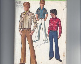 Simplicity 8902 Pattern for Boys & Teen Boys' Body Shirt and Bell Bottom Hip Hugger Pants, Size 20, From 1970, Great Vintage Pattern, Teens
