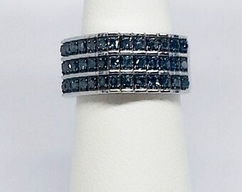 Blue Diamond .50ctw Sterling Silver Ring Size 5