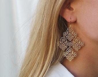 Gold dangle earrings, Gold earrings, Statement earrings, Gold filigree earrings, Fancy earrings, Diamond shape earrings, Fancy jewelry