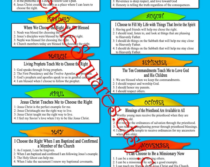 LDS Primary 2017 CTR Monthly and Weekly Sharing Time Lesson Schedule Choose The Right Printables for binder covers, calendars, presidency