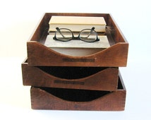 Set of 3 Wood Paper Trays - Vintage Office Decor - In and Out Trays - Desk Organizer - Wood Wall Shelves - Wood Home Decor - Serving Trays