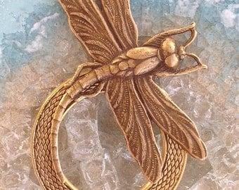 Dragonfly Eyeglass Holder Pin Brooch Loop Ring - Curly Tail