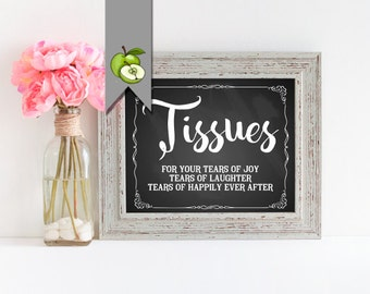 Tissues wedding sign, for your tears, joy, happiness, laughter, ceremony sign, wedding Table Sign, Instant Download, digital file, C4K