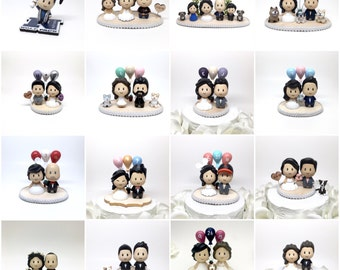 Personalized 3D Sculpted Wedding Cake Topper - Cute Nerdy Unique Anime Cartoon Custom Topper by Ngo Creations