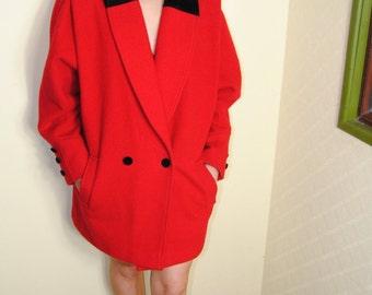 Gorgeous Woolen 80s Red Coat
