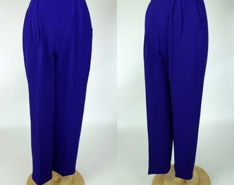 St John purple knit pants w pockets wide leg high waist trousers, small to medium