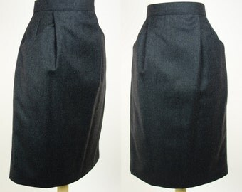 Vintage I Magnin wool skirt, high waist slate gray pencil skirt, grey skirt with pockets, size 6, small
