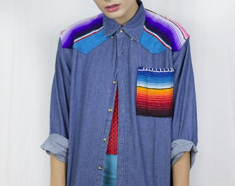 Mexican Blanket Denim Shirt by Get Crooked