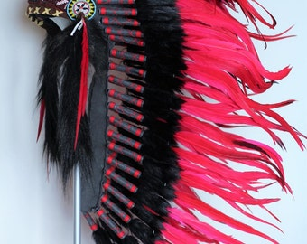 PRICE REDUCED Y05 Medium Red Feather Headdress / Native American Style Warbonnet (36 inch long )