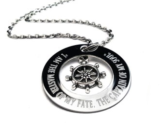 The Master of my Fate, Quote Jewelry, Personalized, Engraved, Hand stamped, Sailor Necklace