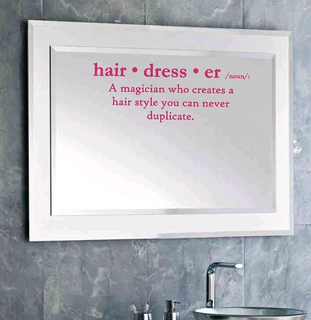 Definition of hairdresser wall decal salon decor wall - Salon art definition ...