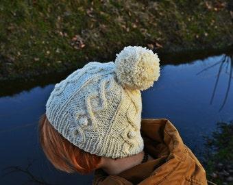 knit hat, pom pom hat, beanie hat, women winter hat, beanie cap, gift for her