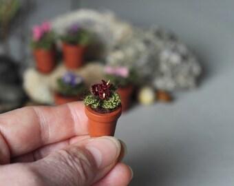 Miniature artificial vine Violet. Crochet potted plant . Crocheted miniature flower violet. Dollhouse miniature. Green, brown, vine