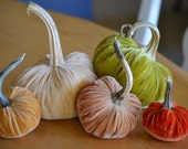 Heirloom Silk Velvet Pumpkins with Real Stems