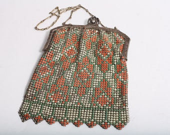 1920's Whiting and Davis Deco Enamel Purse