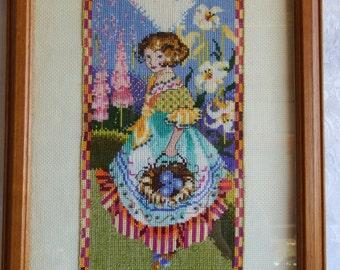 Framed Needle Point, Little Girl Holding a Basket of Flowers