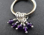 Luxury Sterling Silver and Amethyst Stitchmarkers (X-Small)