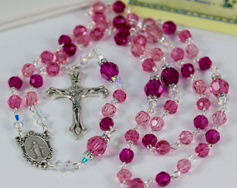 Catholic Swarovski Crystal Rosary in Pinks