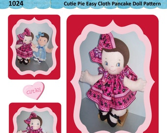"Easy Cloth Rag Doll PDF Pattern Cutie Pie 15"" Pancake Doll Pattern- Easy Beginner PDF Sewing Patterns by Peekaboo Porch"