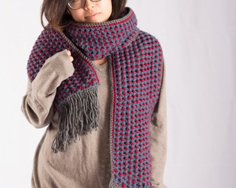 Red, Blue & Grey Comf Scarf with Fringe