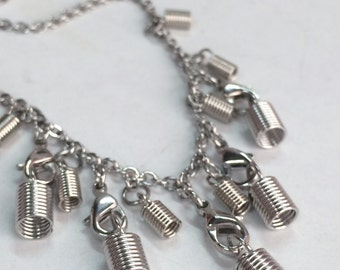 Coil Crimp Fasteners Stainless Steel Statement Necklace, Casual Chic Chandelier Necklace N141