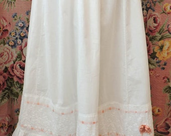 Victorian Petticoat - c1900 Edwardian Lawn & Lace Slip - Pink Silk Ribbons w Rosette - Embroidered Flounce - Excellent Condition - One Size