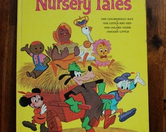 Walt Disney's Nursery Tales - Vintage Hardcover Big Golden Book 1966, Second Printing, Chicken Little, Golden Goose, Gingerbread Man